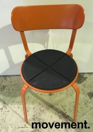 Solid kafestol / restaurantstol fra LaPalma, modell Stil, orange metall med antrasitt pute i polyuretan, brukt bilde 2