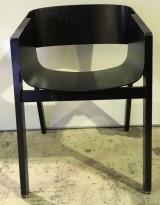 Caféstol / konferansestol / designstol fra TON, Merino av Alexander Gufler i brunbeiset finer, bruksslitasje