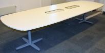 Kinnarps T-serie møtebord / konferansebord i hvitt / grått, 360x120cm, passer 12-14personer, pent brukt