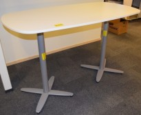 Ståbord / møtebord for stående møter, Kinnarps T-serie i hvitt, ben i krom, 180x90cm, 91cm høyde, pent brukt