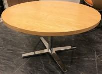 Rundt loungebord i eik / krom, Materia Centrum-serie, Ø=80cm, H=48,5cm, noe slitasje bordplate