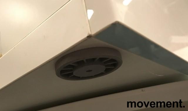 Skjenk / mediabenk i hvitt, highgloss dører, topp-plate i hvitt glass, 120cm bredde, 65,5cm høyde, pent brukt bilde 5