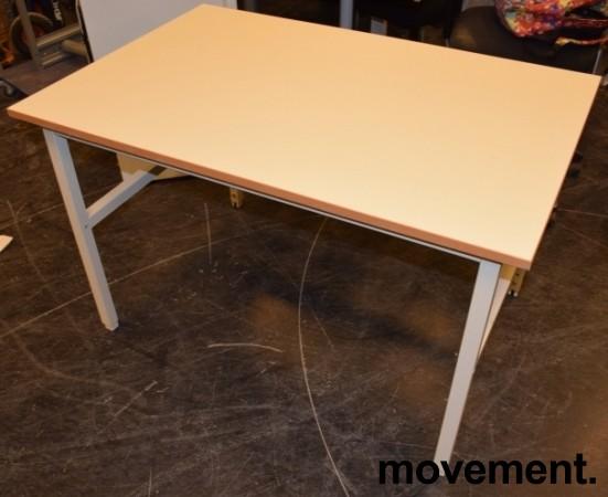 Solid arbeidsbord / arbeidsbenk med 120x80cm bordplate i gråbeige linoleum / metall understell, justerbar høyde, pent brukt bilde 1