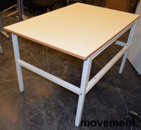 Solid arbeidsbord / arbeidsbenk med 120x80cm bordplate i gråbeige linoleum / metall understell, justerbar høyde, pent brukt bilde 2