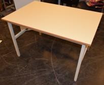 Solid arbeidsbord / arbeidsbenk med 120x80cm bordplate i gråbeige linoleum / metall understell, justerbar høyde, pent brukt