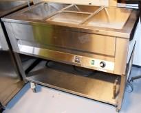 Vannbad / varmebad / serveringsbuffet på hjul, i rustfritt stål, 110cm bredde, pent brukt