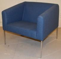 Lekker loungestol fra Skandiform i blå ullfilt / krom, modell Boxer, pent brukt