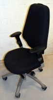 Kontorstol i sort / grått fra RH-stolen, RH Extend, Høy rygg, Armlener, Grått kryss, pent brukt