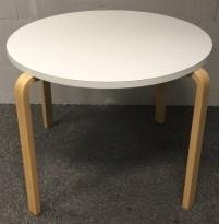 Designbord fra Artek, rundt, Ø=90cm, H=70cm, Design: Alvar Aalto, pent brukt