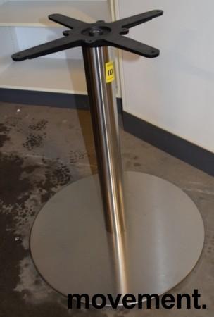 Søyle / søylefot i satinert stål for rundt bordplate eller møtebord, Ø=61 base, H=72, pent brukt