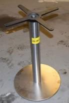 Søyle / søylefot i satinert stål for rundt bordplate eller møtebord, Ø=45 base, H=71, pent brukt