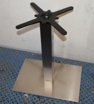 Søyle / søylefot med rektangulær fotplate i satinert stål for møtebord, 60x40cm base, H=70,5, pent brukt