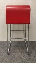 Barstol / barkrakk fra Materia i rødt skinn / krom, sittehøyde 77cm, brukt