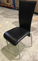 Enkle konferansestoler / besøksstoler i sort kunstskinn / grålakkert stål, pent brukt - KUPPVARE