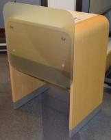 Enkel resepsjon / skranke / kundemottak i eik / lysegrå laminat, 80cm bredde, pent brukt