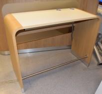 Enkel resepsjon / skranke / kundemottak i eik / lysegrå laminat, 140cm bredde, 106cm arb.høyde, pent brukt