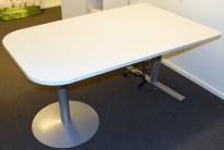 Kompakt møtebord i lysegrått, 160x100cm, grått elektrisk hevsenk understell, Duba B8, pent brukt