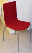 Kinnarps Citra konferansestol / kantinestol / stablestol i dyprødt stoff / grått understell, pent brukt