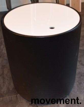 Lite loungebord / kaffebord med oppbevaring, tønne/sylinderform, Ø=40cm H=45cm, pent brukt bilde 1