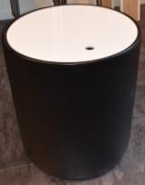 Lite loungebord / kaffebord med oppbevaring, tønne/sylinderform, Ø=40cm H=45cm, pent brukt
