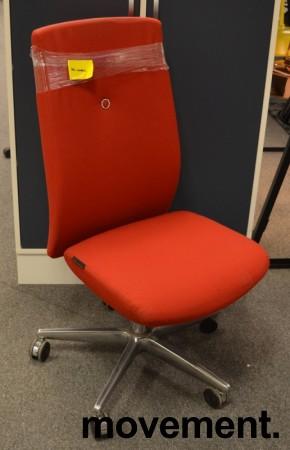Kontorstol: Savo XO i rødt stoff, kryss i krom med rød ring, pent brukt bilde 1
