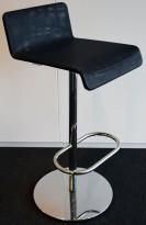 Barkrakk / barstol i krom / sort mesh, høyde 78cm, svingbar, pent brukt