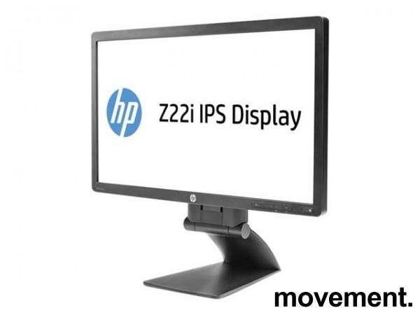 Flatskjerm til PC: HP Z22i IPS Display, 22toms, 1920x1080 Full HD, VGA/DVI/DP/USB, pent brukt