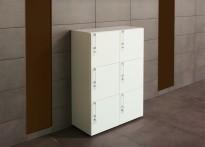 Lukeskap / skap med 6 låsbare dører i hvitt, høyde 109cm, bredde 80cm, NY/UBRUKT
