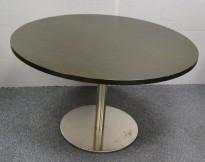 Rundt møtebord i sortbeiset eikefiner / satinert stål, Ø=120cm, pent brukt