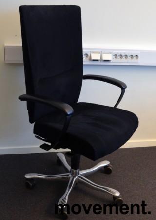 Kinnarps Kapton Synchrone kontorstol, sort mikrofiber, skinnarmlener, pent brukt bilde 1