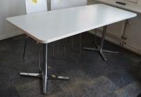 Møtebord / kantinebord fra Materia i hvitt / krom understell, 180x70cm, pent brukt