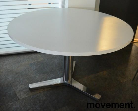 Rundt møtebord / konferansebord / kantinebord i hvitt / krom fra Materia, Ø=120cm, pent brukt bilde 1