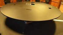Stort, rundt møtebord i sort / rustfritt stål, Ø=300cm, passer 12personer, pent brukt