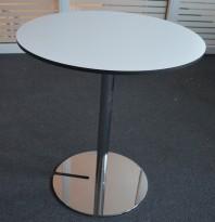 Lite, rundt møtebord i hvitt med sort kant / krom, Skandiform Slitz, Ø=64cm, pent brukt