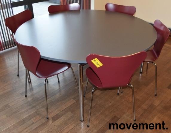 Arne Jacobsen 7er-stol / syver-stol, model 3107, i 580 Mørkerød, understell i krom, pent brukt bilde 3