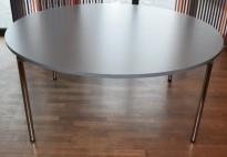 Rundt møtebord / kantinebord FourDesign i grått / krom, sammenleggbart, Ø=160cm, pent brukt
