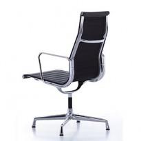 Vitra - Eames Alu Group EA109 konferansestol / besøksstol i sort skinn / krom, høy rygg, pent brukte
