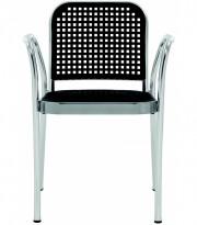 Stablestol/utestol: DePadova Silver Outdoor, Design: Vico Magistretti, Alu ramme, sort sete, pent brukt