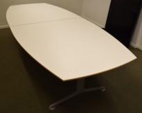 Møtebord fra Martela i hvitt, grått understell, 288x120cm, passer 8-10 personer, pent brukt