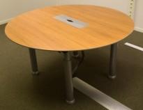 Rundt møtebord i valnøtt fra Duba-B8, Ø=140cm, grå ben, luke til kabler, pent brukt med noe slitasje