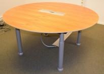 Rundt møtebord i valnøtt fra Duba-B8, Ø=160cm, grå ben, luke til kabler, pent brukt med noe slitasje