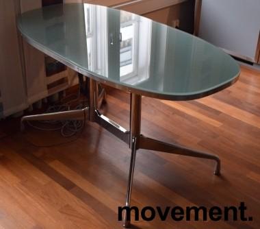 Lekkert designskrivebord i glass / stål fra Vitra, design: Eames, 140x70cm, pent brukt bilde 2