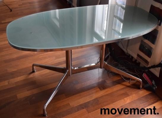 Lekkert designskrivebord i glass / stål fra Vitra, design: Eames, 140x70cm, pent brukt bilde 1