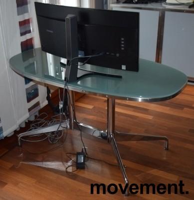 Lekkert designskrivebord i glass / stål fra Vitra, design: Eames, 140x70cm, pent brukt bilde 4