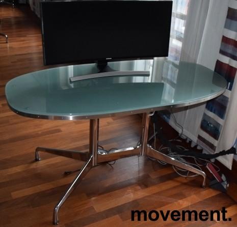 Lekkert designskrivebord i glass / stål fra Vitra, design: Eames, 140x70cm, pent brukt bilde 3