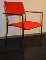 Martela konferansestol / møteromsstol i rødt stofftrekk / krom, pent brukt