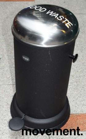 Vipp pedalbøtte i sort, høyde 51cm, Ø=30cm på basen, pent brukt bilde 1