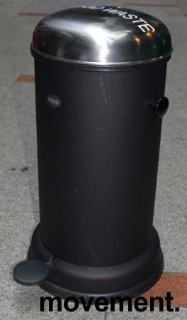 Vipp pedalbøtte i sort, høyde 51cm, Ø=30cm på basen, pent brukt bilde 2
