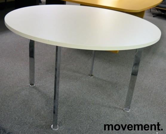 Rundt møtebord Ø=120cm, H=72, hvit plate (ny / ubrukt), krom understell, pent brukt bilde 1