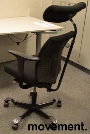 Håg H05 5500 kontorstol med nakkepute og armlene, nytrukket i sort bilde 2